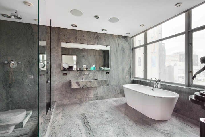 bathroom-inspiration-glorious-white-porcelain-freestanding-soaking-bathtub-and-gray-mosaic-granite-floors-and-wall-panels-as-inspiring-decorate-modern-gray-bathroom-ideas-sophisticated-gra Perfect contemporary gray rooms that we love Perfect contemporary gray rooms that we love bathroom inspiration glorious white porcelain freestanding soaking bathtub and gray mosaic granite floors and wall panels as inspiring decorate modern gray bathroom ideas sophisticated gra