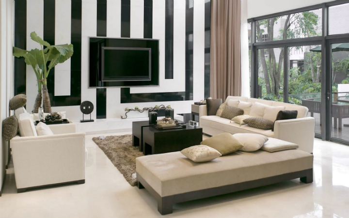 Decorating your home: don't be overpassed! Decorating your Home: Don't Be Overpassed! Decorating your Home: Don't Be Overpassed! black and white maze wall decor paired with trendy brown living room interior also glass doors design