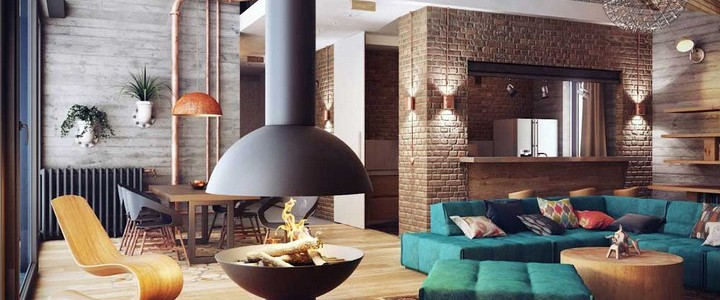 Great Design Ideas for Lofts Apartments Great Design Ideas for Lofts Apartments 1 Central fireplace design