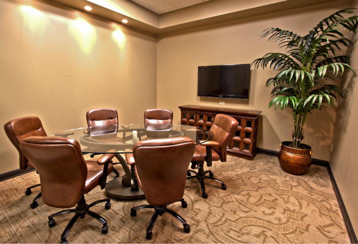 Amazing Round Conference Tables Amazing Round Conference Tables  Amazing Round Conference Tables  Classic Espresso Conference Room With Round Glass Conference Table And Leatherhead Swivel Chair Also LCD TV Above Wooden Cabinet Ideas