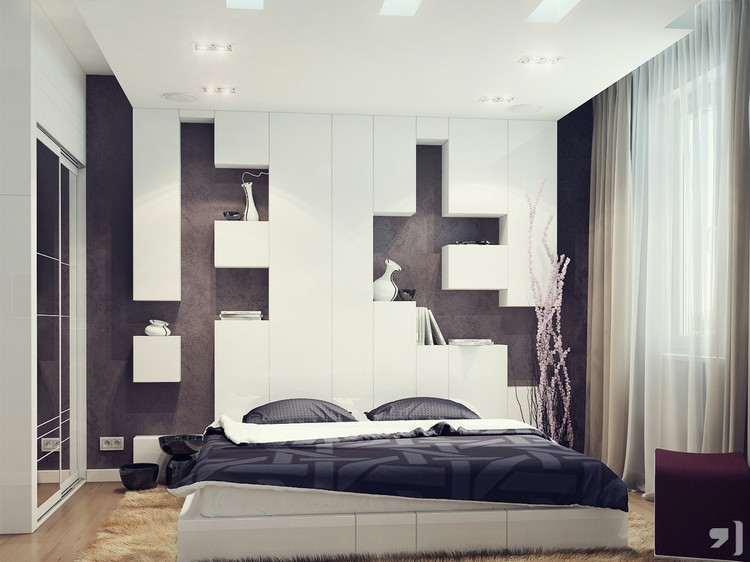Modern Bed Headboards Headboards Modern Bed Headboards Black white bedroom storage headboard3