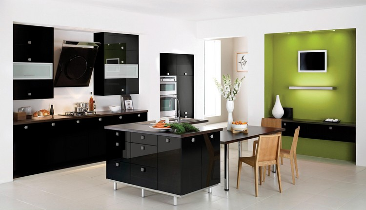 Amazing Kitchen Islands Designs Kitchen Islands Designs Amazing Kitchen Islands Designs modern kitchen island brown countertop wasabin faucet white ceramic flowers vase ceramic plate carrots white blackspash white ceramic floor black kitchen cabinet green walls modern gas stove