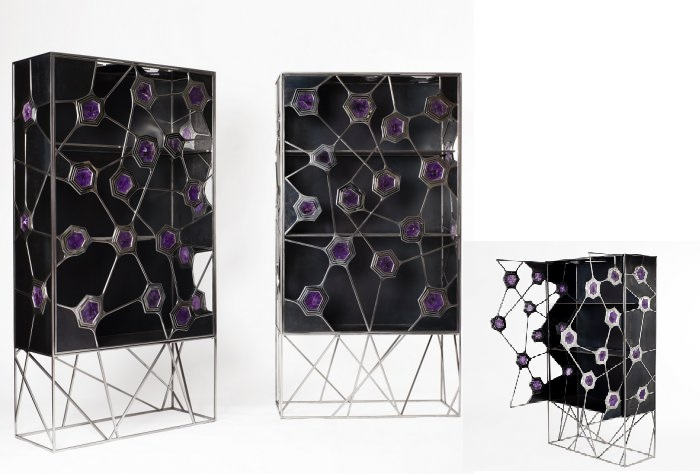 French modern cabinet with purple accents.  modern cabinet Top 30 Modern Cabinets Top 50 Modern Cabinets 13  Top 20 Modern Cabinets for your living room Top 50 Modern Cabinets 13