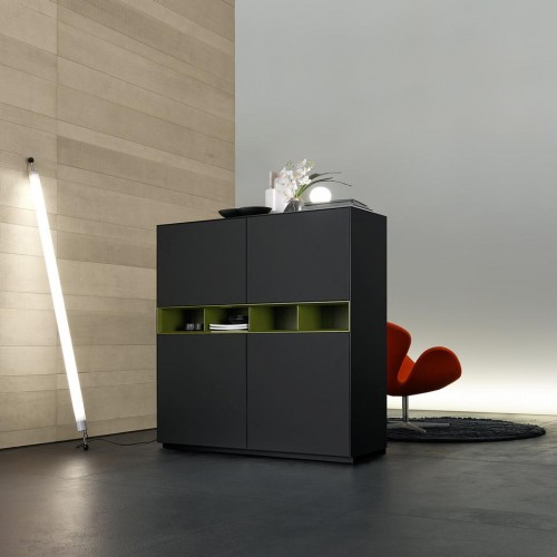 Contemporary cabinet in black tones with green accents.  modern cabinet Top 30 Modern Cabinets Top 50 Modern Cabinets 25 e1448016638908  Top 20 Modern Cabinets for your living room Top 50 Modern Cabinets 25 e1448016638908