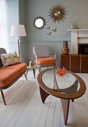 Whimsical Mid Century Modern Living Room. Love The Pop Of Orange Against  That Pale Blue