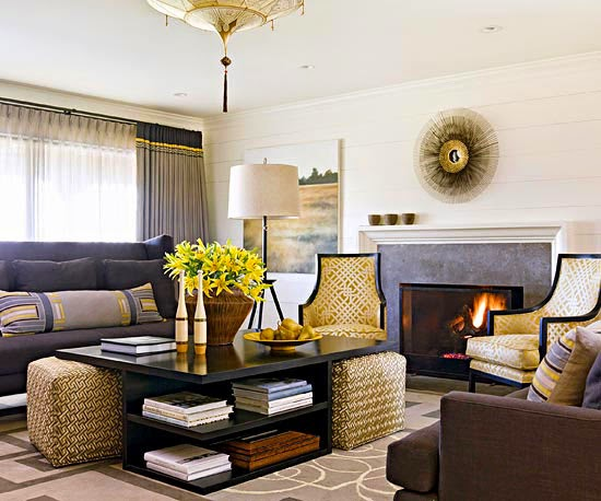 Like The Coffee Table With Shelves And Ottomans That Slide Under. It Looks  Perfect In