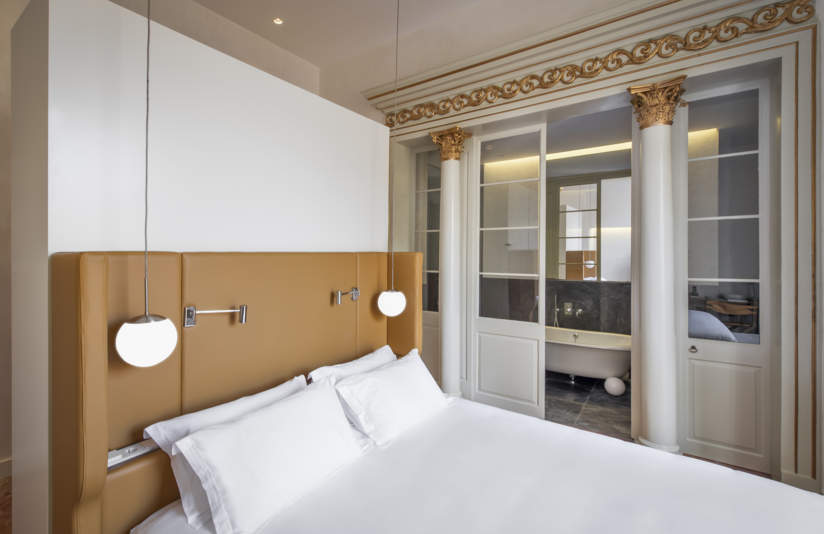 Bedroom design at Can Faustino Hotel, in Spain