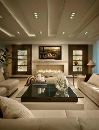 Luxury furniture ideas  living room 50 MODERN CENTER TABLES FOR A LUXURY LIVING ROOM sejour traditionnel tele sur cheminee