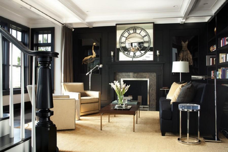 Black and Golden Living Room Details