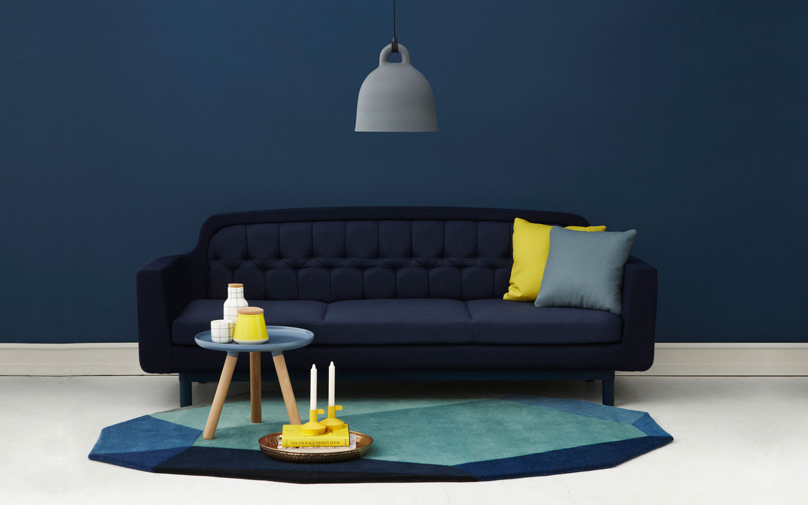 blue navy interiors - Navy Blue And Yellow Living Room Ideas