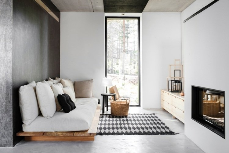 canapé-de-jardin-palettes- Scandinavian Bedroom Beautiful Scandinavian Bedroom Ideas canap   de jardin palettes bois coussins deco interieur