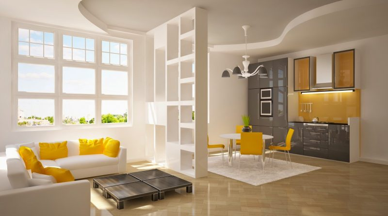 Yellow accents in a modern penthouse