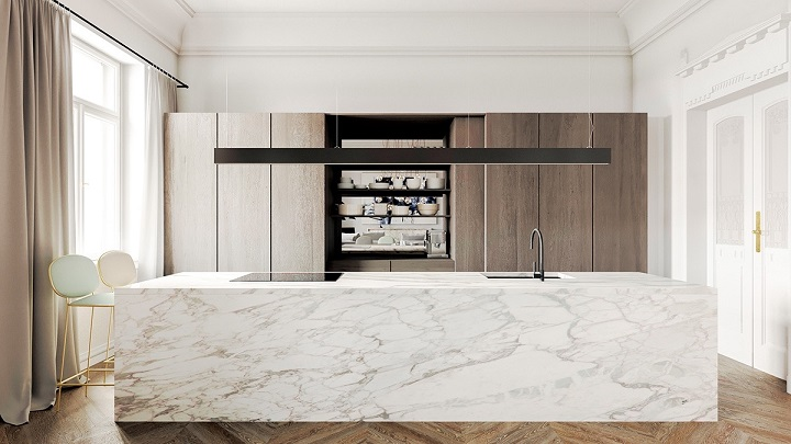 block-bench-wooden-floor-marble-kitchen Luxury Kitchen Best Luxury Kitchen Design With Marble Accents block bench wooden floor marble kitchen