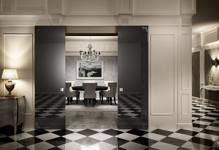 exterior-interior-hotels-meeting-room-decoration-with-black-glass-sliding-door-on-white-painted-wall-panel-combined-with-black-white-plaid-pattern-tiled-floor-luxury-wooden-doors Home Decor Ideas 10 Home Decor Ideas From Luxury Hotels exterior interior hotels meeting room decoration with black glass sliding door on white painted wall panel combined with black white plaid pattern tiled floor luxury wooden doors
