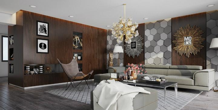 hexagonal-wall-texture home decor ideas Beautiful Home Decor Ideas For Modern Living Rooms hexagonal wall texture