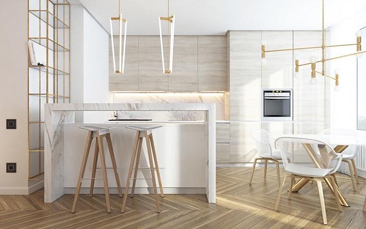 light-and-white-scandinavian-marble-kitchen Luxury Kitchen Best Luxury Kitchen Design With Marble Accents light and white Scandinavian marble kitchen