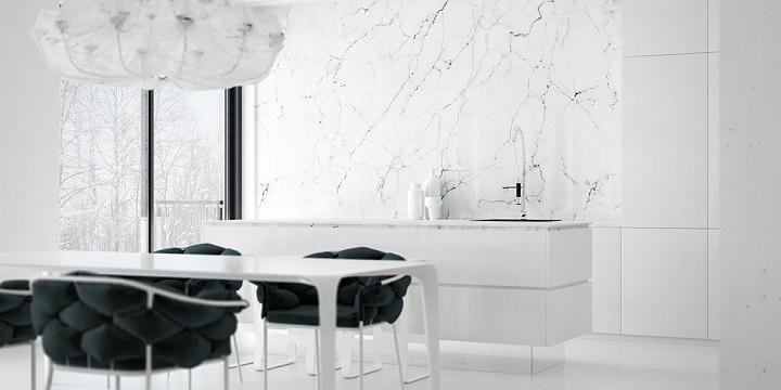 monochrome-marble-kitchen Luxury Kitchen Best Luxury Kitchen Design With Marble Accents monochrome marble kitchen