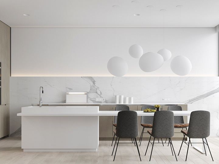white-baubles-marble-kitchen Luxury Kitchen Best Luxury Kitchen Design With Marble Accents white baubles marble kitchen