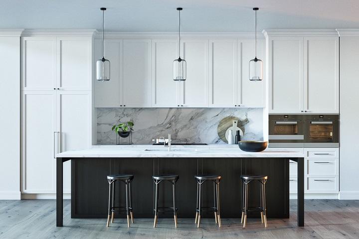 white-black-and-wood-marble-kitchen Luxury Kitchen Best Luxury Kitchen Design With Marble Accents white black and wood marble kitchen