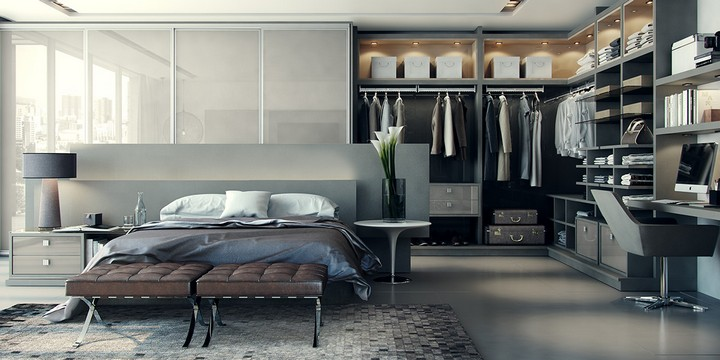 corner-integrated-closet-arrangement luxury master bedrooms Inspiring Closets for Luxury Master Bedrooms corner integrated closet arrangement