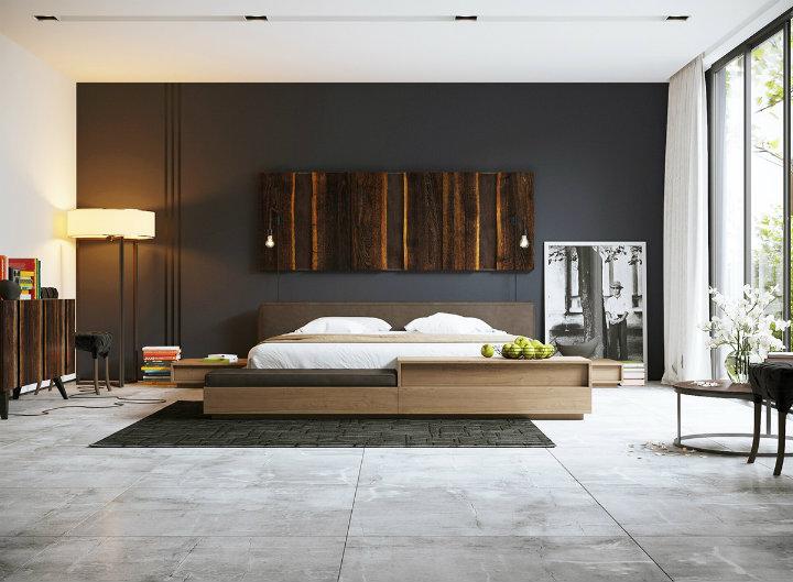 dark-bedroom-with-bright-wood-tones master bedroom decor ideas 9 Heartbreaking Master Bedroom Decor Ideas dark bedroom with bright wood tones