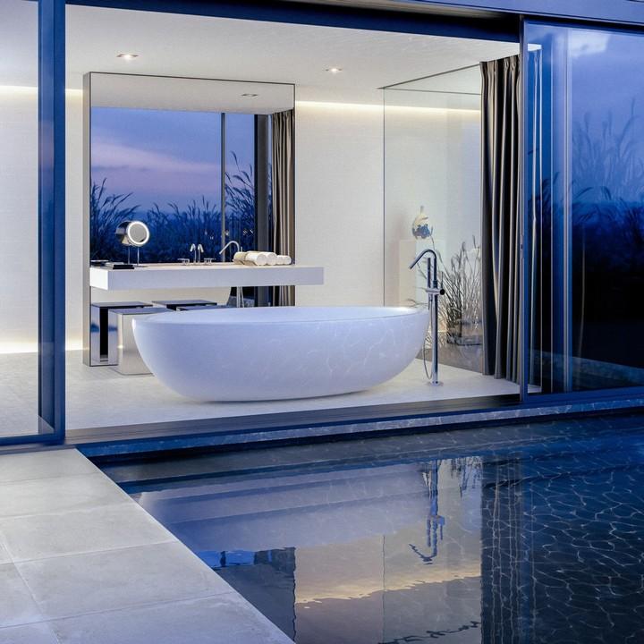 poolside-bathtub bathtub ideas for luxury bathrooms 10 Inspiring Bathtub Ideas For Luxury Bathrooms poolside bathtub