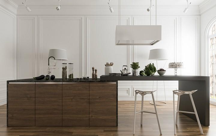 dark-wood-kitchen-island luxury kitchen design Tips To Improve Your Luxury Kitchen Design dark wood kitchen island