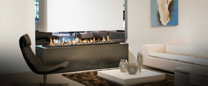 5 modern living rooms with warm fireplaces - Contemporary fireplace insert for a warm living room ...