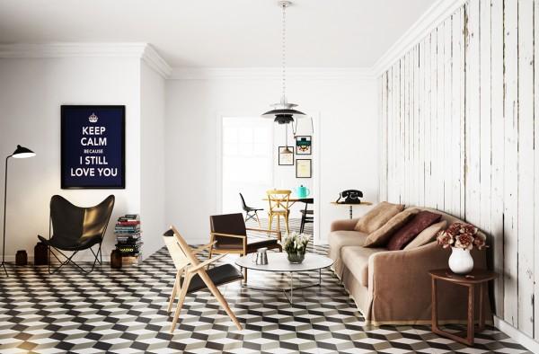 Scandinavian 25 Scandinavian Living Room Design Ideas checked floor tile 600x394