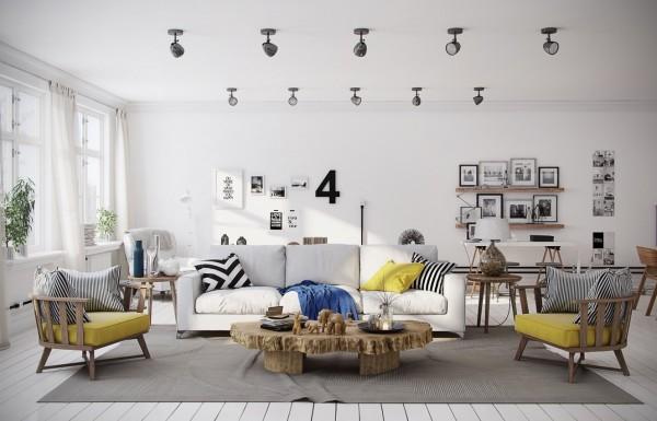 Scandinavian 25 Scandinavian Living Room Design Ideas chevron yellow living room 600x385