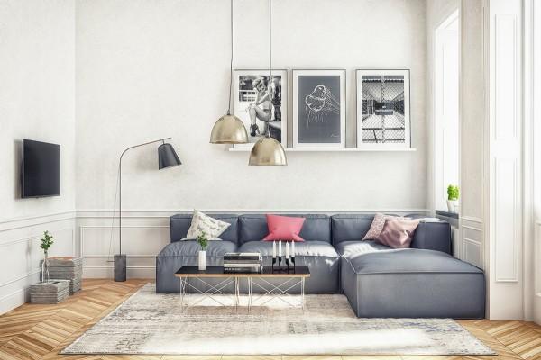 Scandinavian 25 Scandinavian Living Room Design Ideas chrome light fixtures 600x400