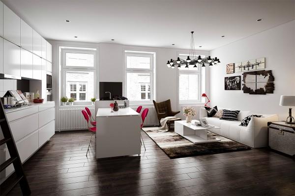 Scandinavian 25 Scandinavian Living Room Design Ideas dark wood flooring 600x400