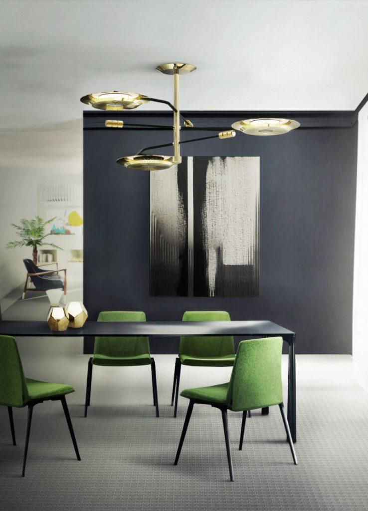 modern dining room 25 Astonishing Modern Dining Rooms For The Holiday Season delightfull hendrix midcentury modern suspension lamp 1 738x1024