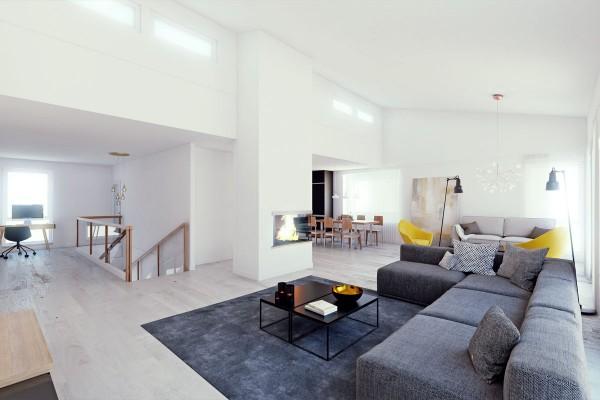 Scandinavian 25 Scandinavian Living Room Design Ideas gray sectional sofa 600x400