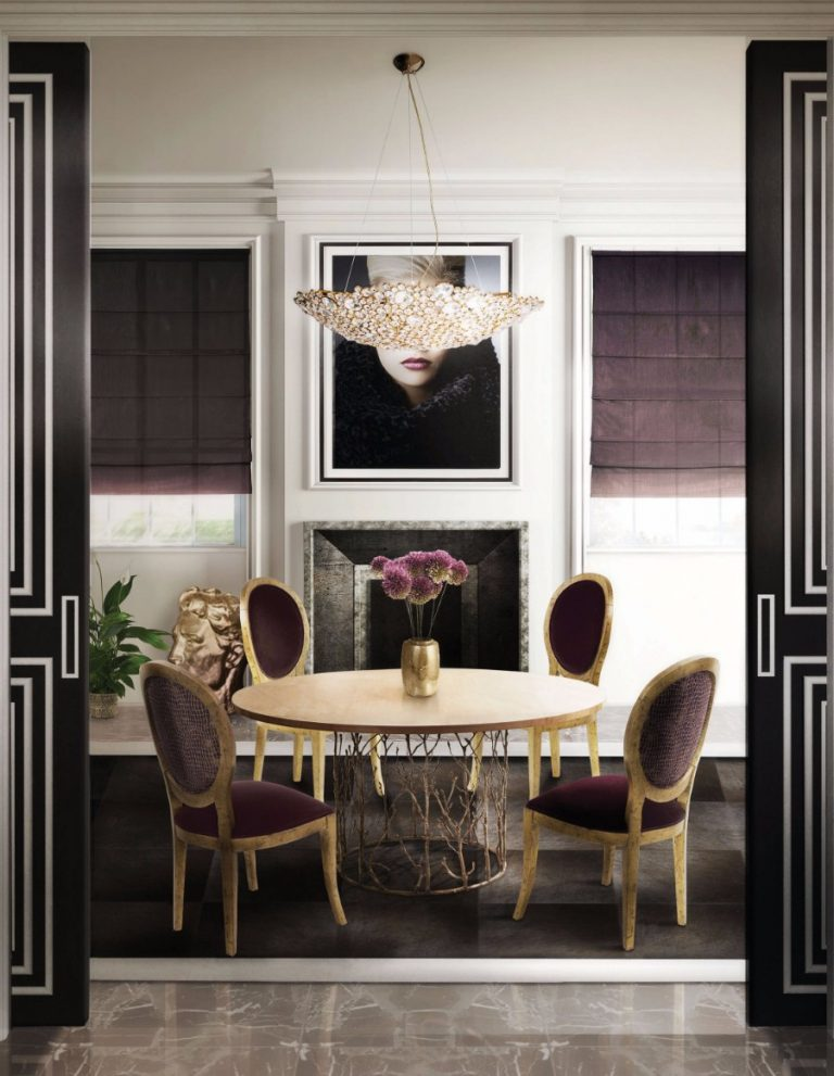 25 Astonishing Modern Dining Rooms modern dining room 25 Astonishing Modern Dining Rooms For The Holiday Season koket enchanted dining table eternity chandelier diamantra dining chair koket projects 768x991