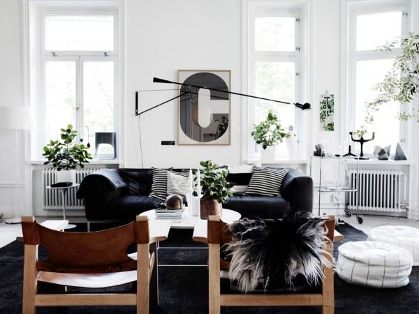 Scandinavian 25 Scandinavian Living Room Design Ideas leather sling chairs 600x450