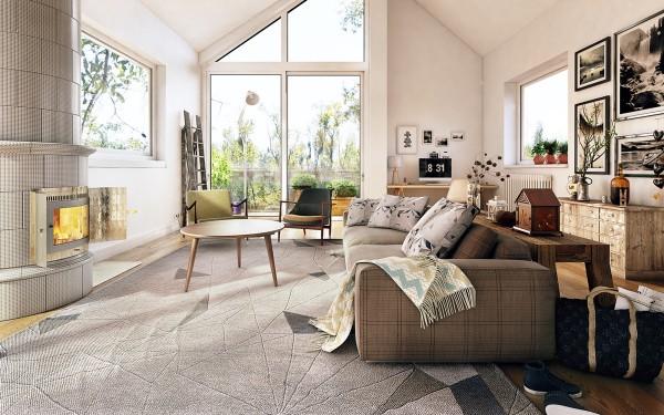 Scandinavian 25 Scandinavian Living Room Design Ideas plaid sofa 600x375