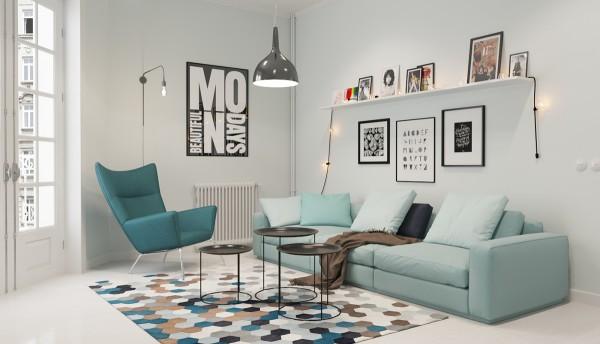 Scandinavian 25 Scandinavian Living Room Design Ideas small mint sofa 600x344