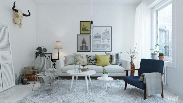 Scandinavian 25 Scandinavian Living Room Design Ideas soft shag rug 600x337