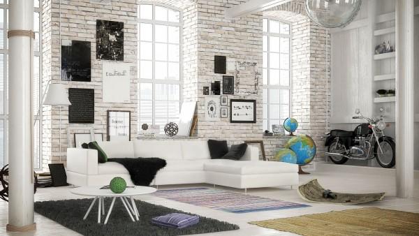 Scandinavian 25 Scandinavian Living Room Design Ideas white brick living room 600x338