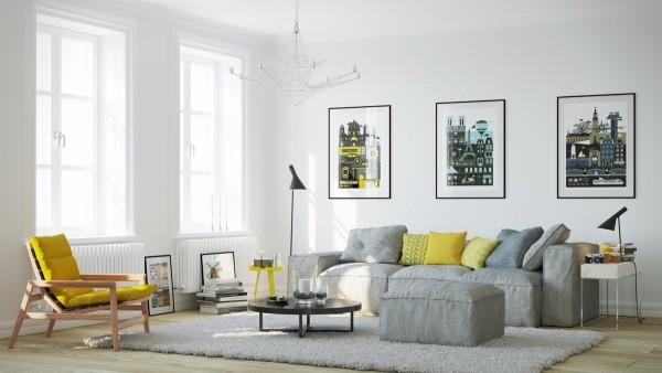 Scandinavian 25 Scandinavian Living Room Design Ideas yellow side chair 600x338