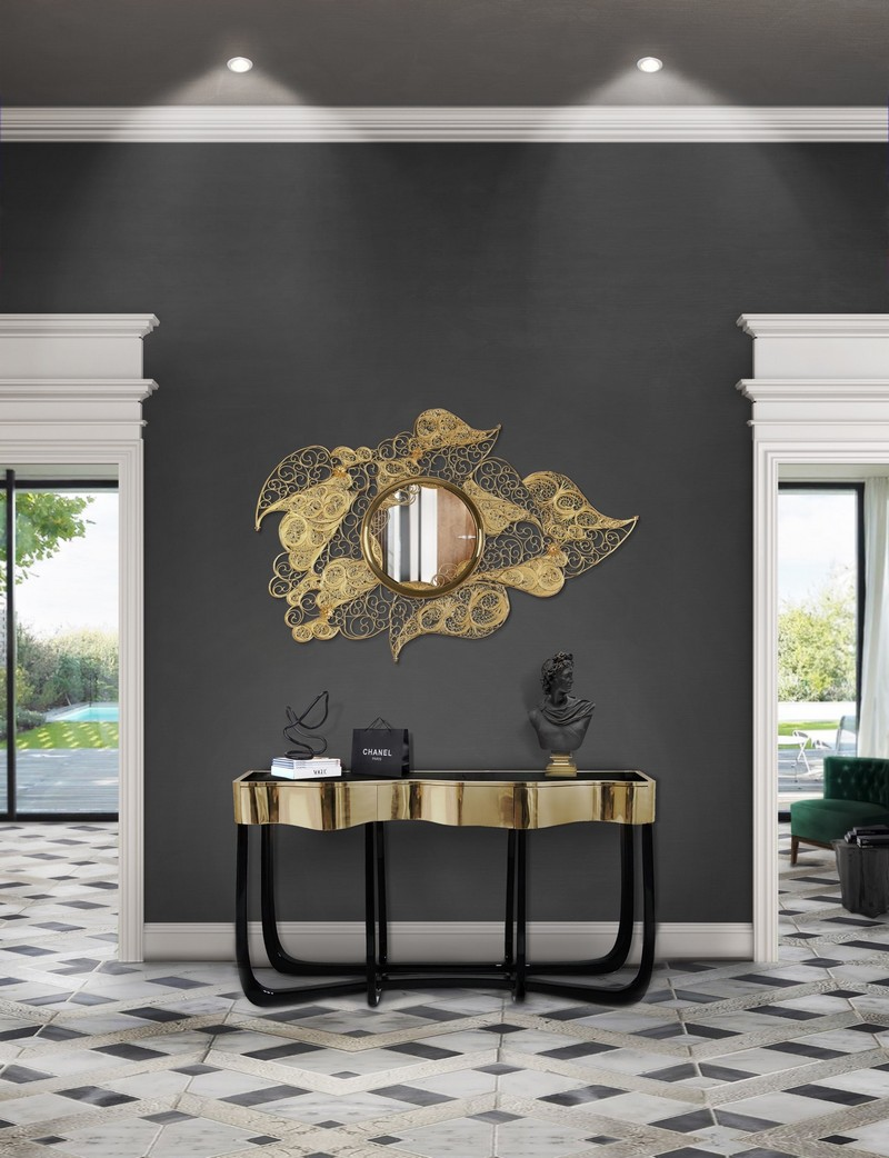 best console tables Discover the Best Console Tables for your Entryway 15 filigree mirror hr 01