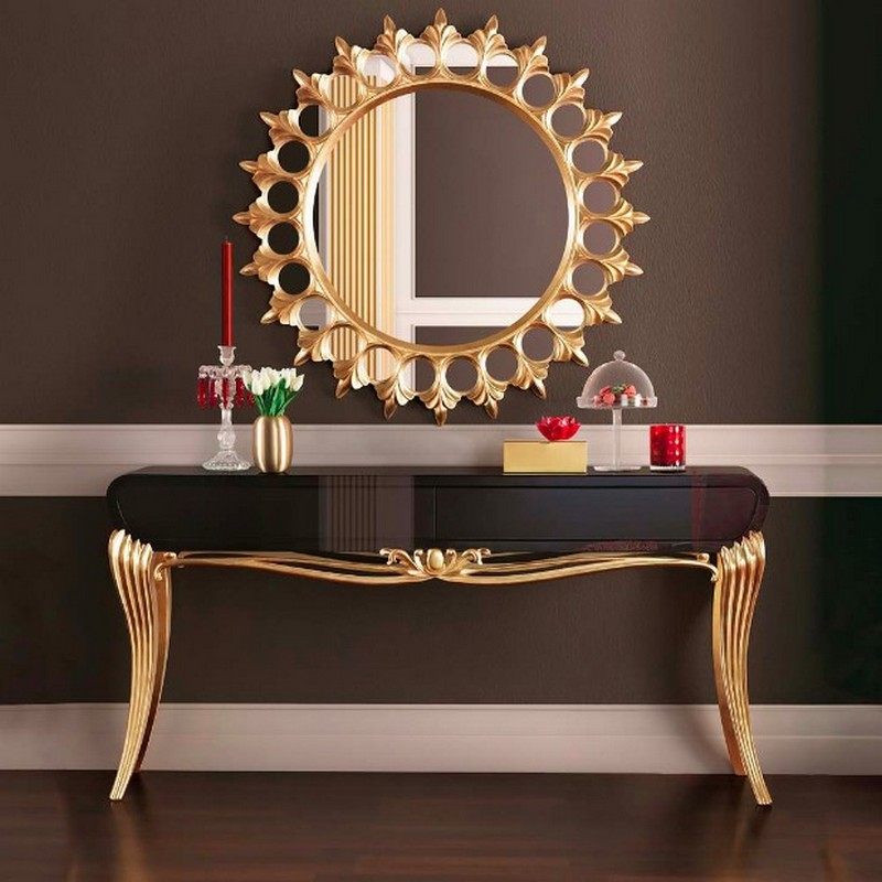 best console tables Discover the Best Console Tables for your Entryway 9 the Black Gold Leaf Console