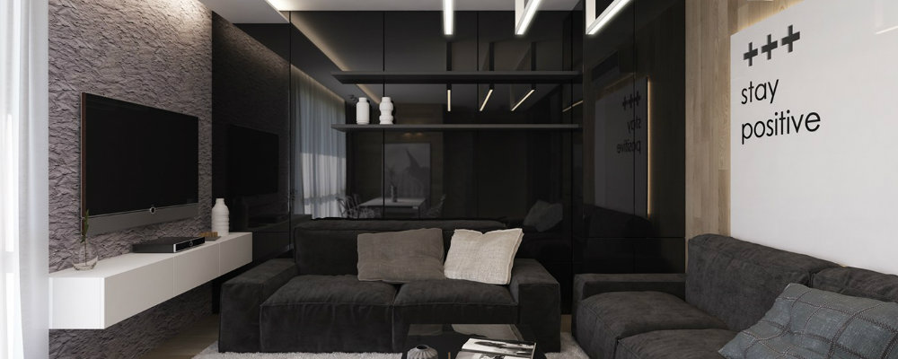 black living room Inspiring Black Living Room Designs 000 1