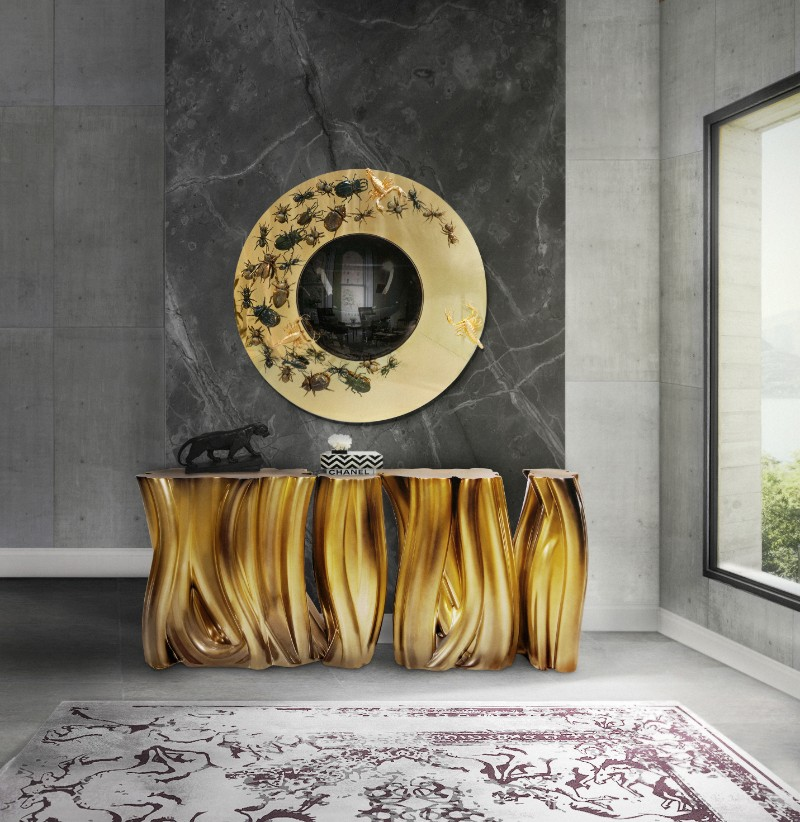 console The Imposing Presence of the Monochrome Gold Console ambience monochrome gold boca do lobo